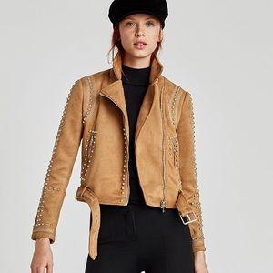 Camel studded biker jacket